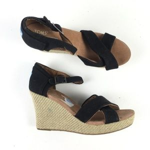 Toms Black Rope Wedges E9615944